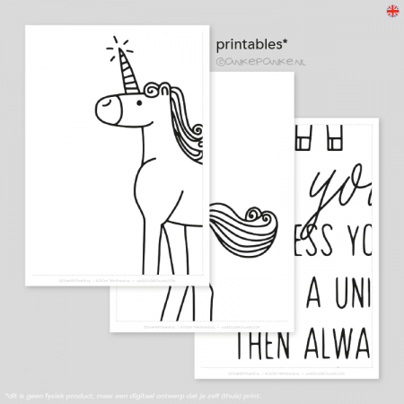 Be yourself, unless you can be a unicorn, then always be a unicorn quote raamtekening