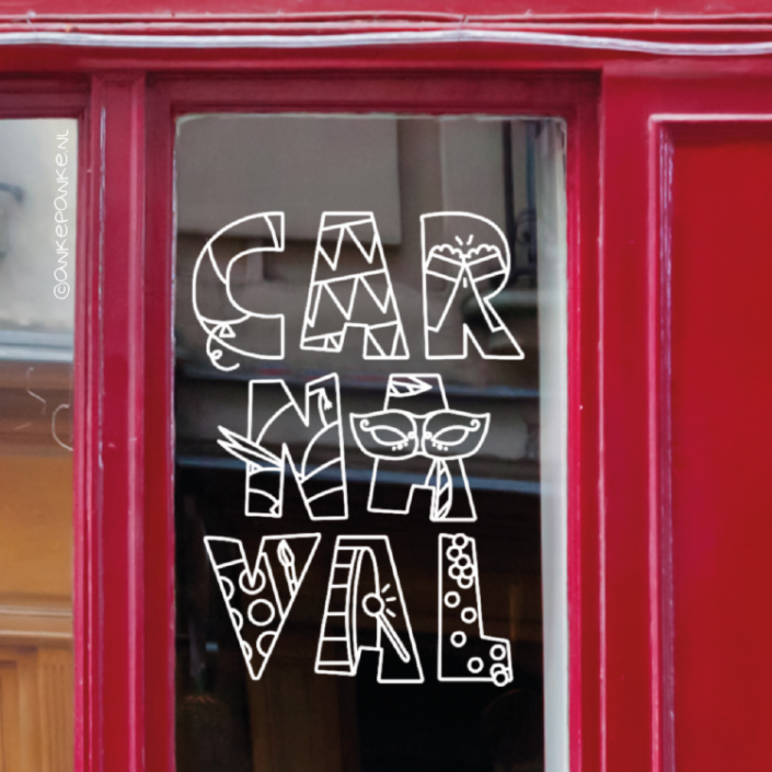 Carnaval letters window drawing