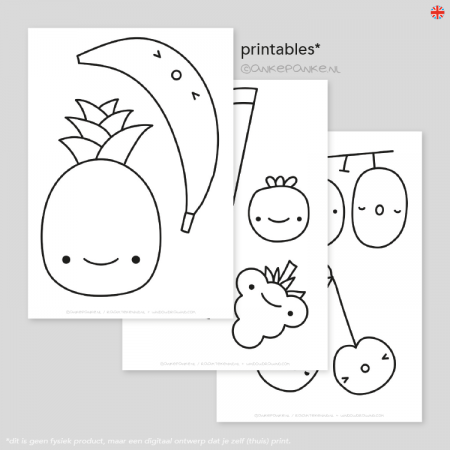 Kawaii fruit raamtekening