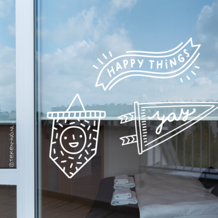 Happy things en Yay banners raamtekening