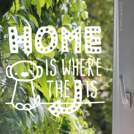 Home is where the dog is quote raamtekening