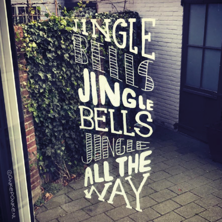 Jingle bells kerstmis raamtekening