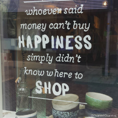 Buy happiness quote raamtekening