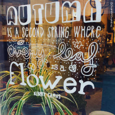 Autumn is a second spring quote raamtekening