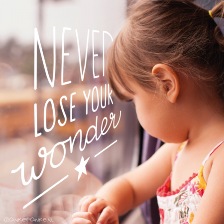 Never lose your wonder quote raamtekening