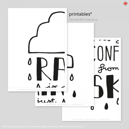 Rain is just confetti from the sky quote raamtekening