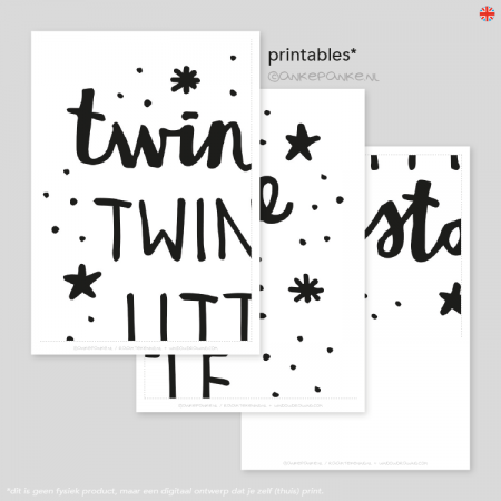 Twinkle little star quote raamtekening