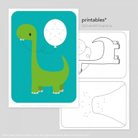 Dinos printable borduurkaart