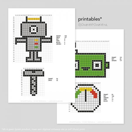 Robot strijkkraal patroon printable