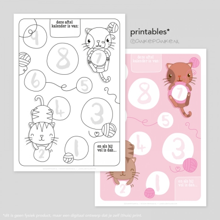 Kitten freebie printable aftelkalender