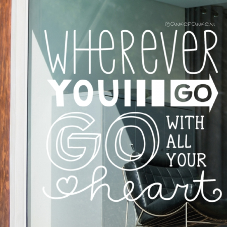 Wherever you go quote raamtekening