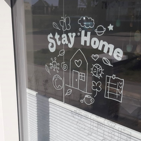 Stay home huisje freebie raamtekening