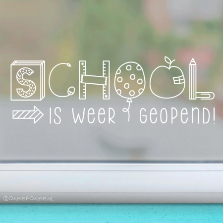 School is weer geopend freebie raamtekening