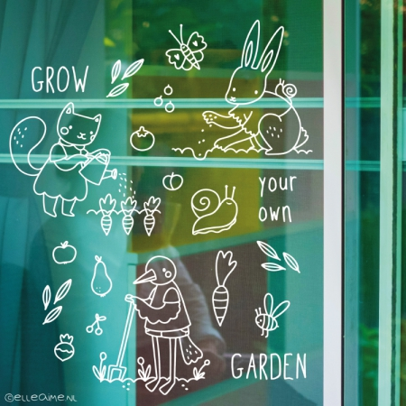 Grown your own garden diertjes raamtekening
