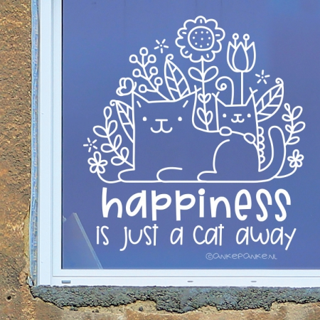 Happiness is just a cat away raamtekening
