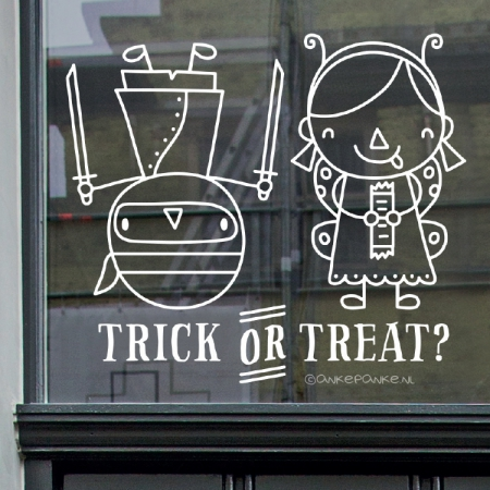 Trick or treat ninja en elfje Halloween raamtekening