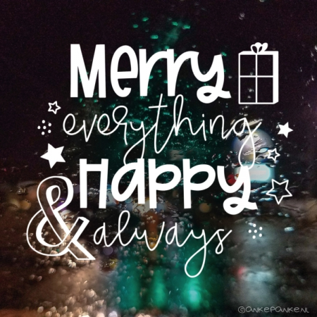Merry everything & Happy always kerst raamtekening