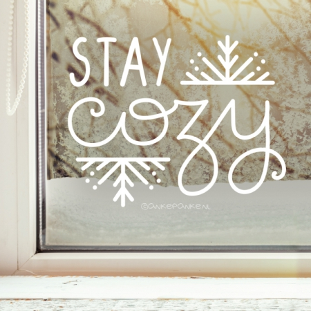 Stay cozy winter quote raamtekening